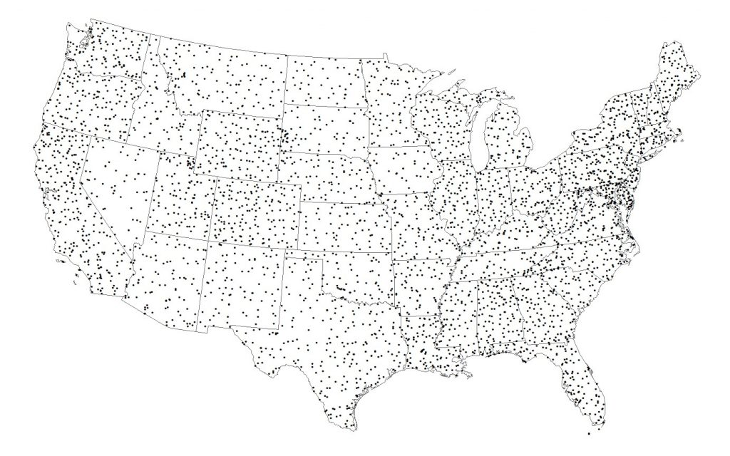 Map of North American Breeding Bird Survey (BBS) route locations in the conterminous United States. Each breeding season, approximately 4,000 BBS routes are surveyed across the study area. Laura will compare texture measures of habitat heterogeneity with BBS data, with the goal of mapping patterns of avian biodiversity across the conterminous U.S.