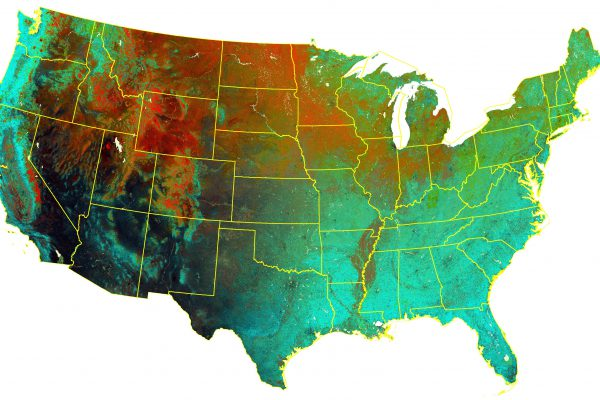 The DHIs calculated from 30-m Landsat for the conterminous US. The DHIs are shown as variation DHI in red, cumulative DHI in green, and minimum DHI in blue.