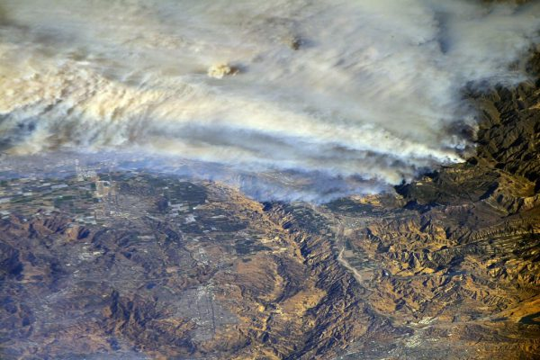 Southern California wildfires captured from the International Space Station. Image Credit: NASA Johnson