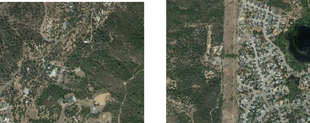 Examples of intermix (left) and interface (right) wildland-urban interface areas located near Redding, California. Photos from Google Earth.
